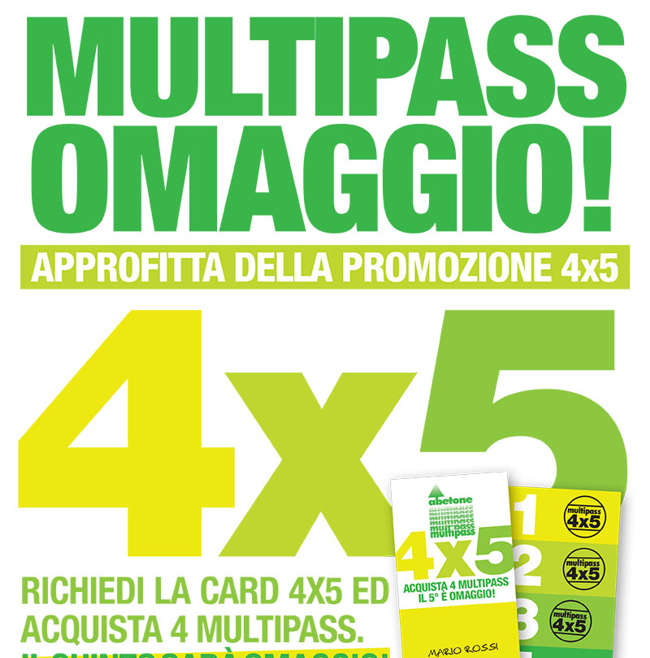 Offerta 4×5 Multipass in omaggio