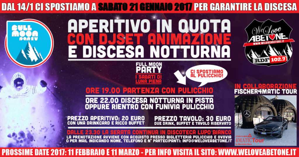 Full Moon Party Abetone – 21 Gennaio 2017