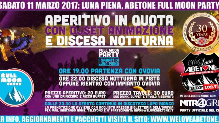 Full Moon Party Abetone, Sabato 11 Marzo 2017