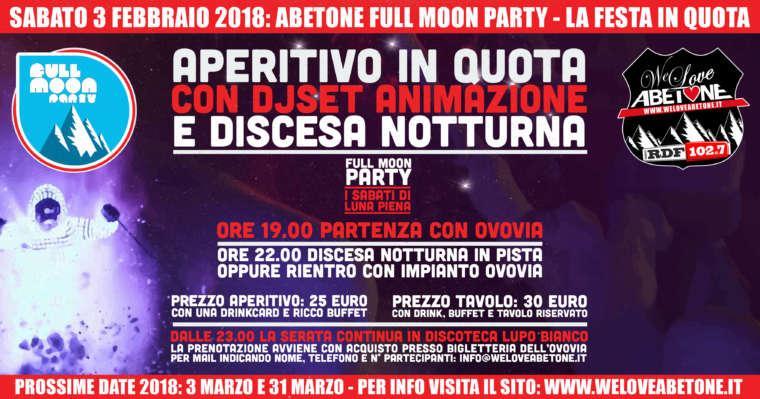 Full Moon Party Abetone: 3 Febbraio 2018
