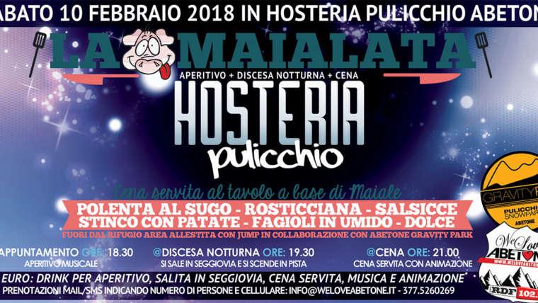 La Maialata: Aperitivo, Discesa Notturna & Cena Hosteria Pulicchio Abetone