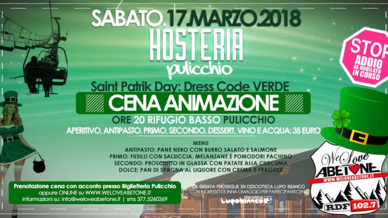 Cena Animazione Hosteria Pulicchio Abetone: Saint Patrik Day