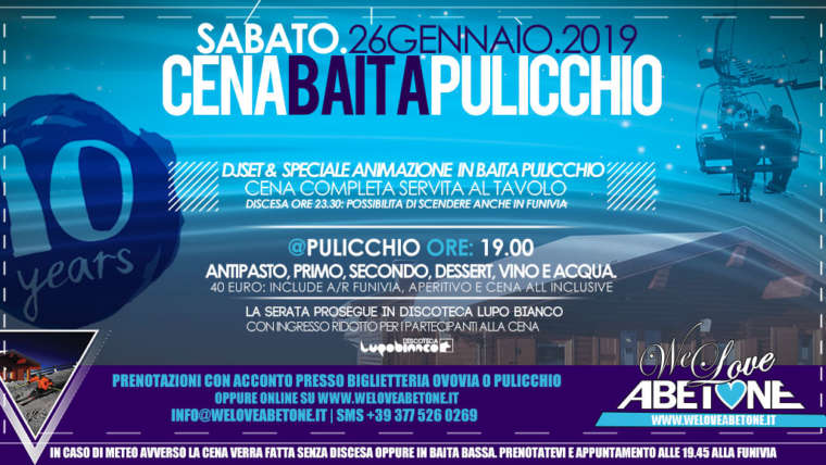 Cena Baita Pulicchio 26 Gennaio 2019: Aperitivo, Cena e Discesa Notturna