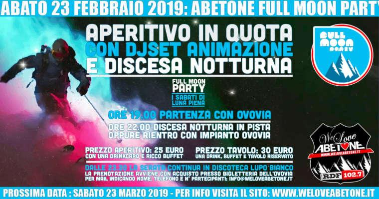 Full Moon Party – Sabato 23 Febbraio 2019 – Aperitivo in quota e Discesa notturna dal Monte Gomito