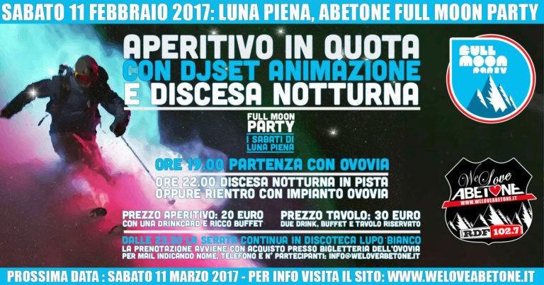Full Moon Party Abetone, Sabato 11 Febbraio 2017