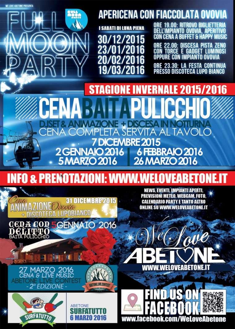 Eventi WeLoveAbetone: Stagione INVERNALE 2015/2016