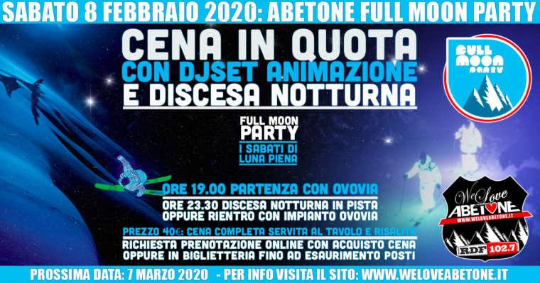 Full Moon Party: Le Nuove Cena in quota Ovovia Abetone – Sabato 8 Febbraio 2020